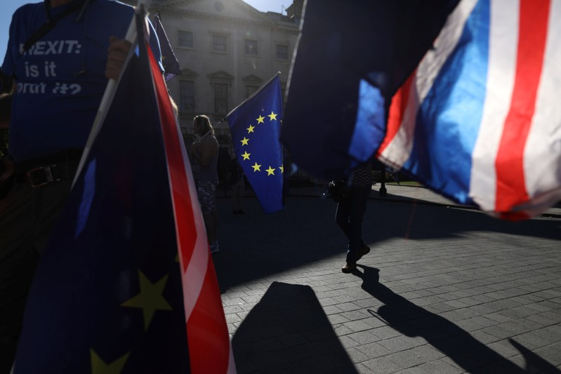 Anti-Brexit protesters wave flags opposite the Houses of Parliament in London, Britain, October 9, 2018.   REUTERS/Simon Dawson