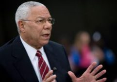 """Colin Powell, former U.S. secretary of state, speaks during a Bloomberg Television interview in Washington, D.C., U.S., on Friday, May 24, 2013. Powell, who served in three Republican administrations, said U.S. President Barack's Obama's National Defense University speech """"made it clear that there are still enemies out there"""" but the U.S. has to be """"more careful"""" with the use of force, """"especially with respect to drones."""" Photographer: Andrew Harrer"""